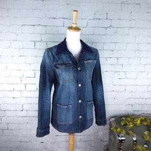 Driftwood Plaid Flannel Lined Denim Jacket Blue S